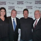Taylor Makakoa, Major Gen. Paul Vallely, U.S. Army, retired, Terry Fator and Brigadier Gen. Charles Jones, U.S. Air Force, retired, on Thursday, Feb. 6, 2014, at the Mirage in Las Vegas.